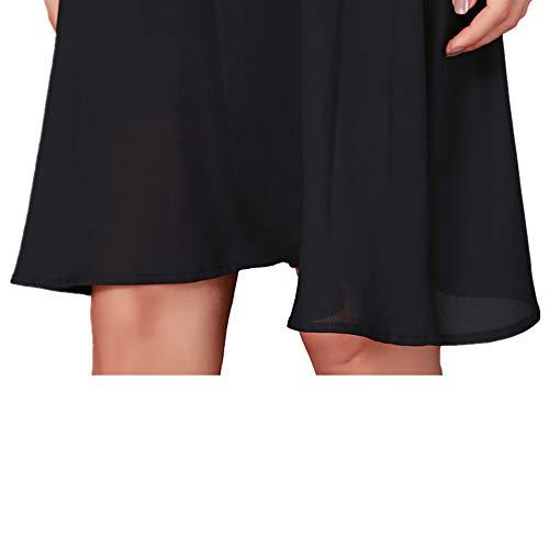 Flare Wagyunfei De Cou Noir Soie Shoulder Dress De en Mousseline Mousseline Panneau Leaky V Soie HHSCq7nZrw