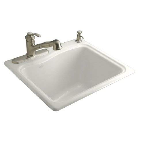 KOHLER K-6657-1-0 River Falls Self-Rimming Sink with Single-Hole Faucet Drilling, White