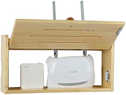 Xyanzi-DVDラック セットトップボックス棚のルータ無垢材ブロックの壁のボックス壁掛けの無線LANワイヤストレージシェルフ、スタイルの様々な 機能的な収納棚 (色 : Pine medium)