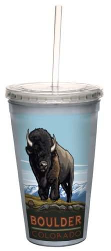 Tree-Free Greetings cc33290 Vintage Boulder Colorado Buffalo by Paul A. Lanquist Artful Traveler Double-Walled Cool Cup with Reusable Straw, 16-Ounce