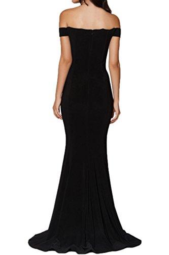 ivyd ressing Mujer alta calidad a partir de El Hombro Ranura gasa vestido de fiesta Prom vestido fijo para vestido de noche negro