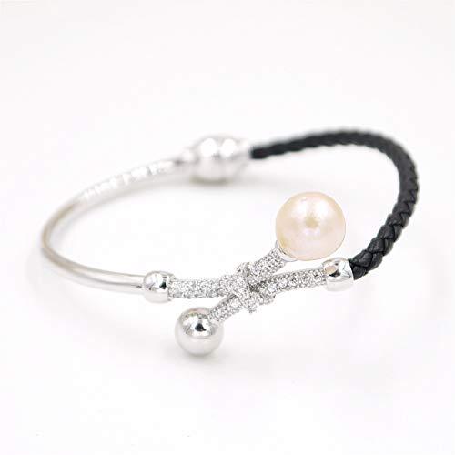 Lee Bracelets Designer (B86309Z-Baroque Pearl Luxury Leather Bracelet Birthday Gift Jewelry Silver)