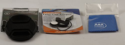Replacement Snap-On Lens Cap Center Pinch for Kodak EazyShare Max Z990 Digital Cameras with Leash , 3 Piece cleaning kit and cap Holder. by A&R
