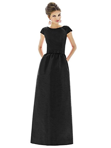 Bateau Floor - Forever Alfred Sung Style D569 Floor Length dupioni Shirred Skirt Formal Dress - Cap Sleeves Bateau Neck - Black - 18