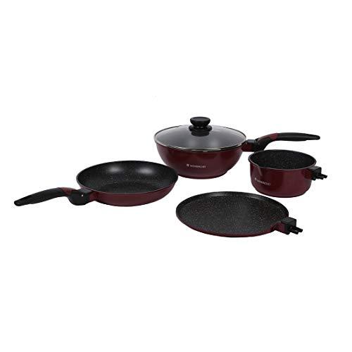 Wonderchef Click Amaze Aluminium Nonstick Cookware Set, 4 Pieces, Black