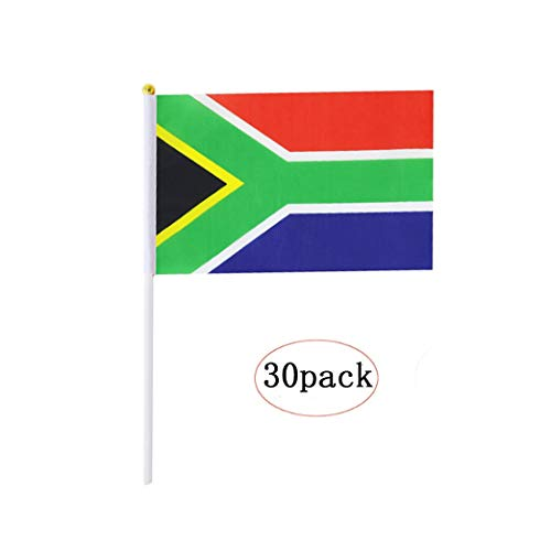 South Africa Stick Flag,South African Hand Held Mini Small Flags On Stick International Country World Stick Flags For Party Classroom Garden Olympics Festival Parades Parties Desk Decorations(30 pack)
