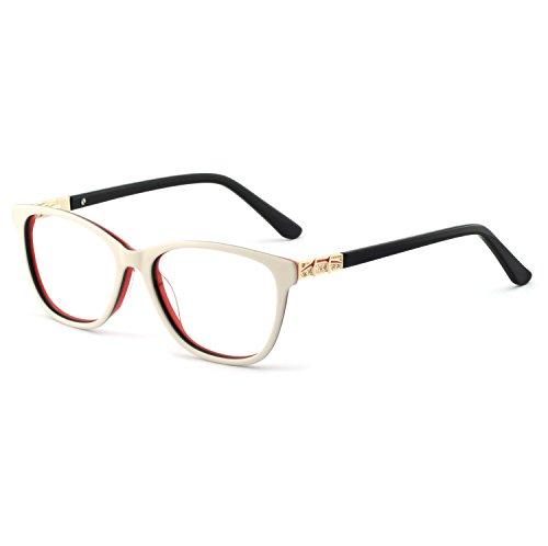 - OCCI CHIARI Stylish Women's Eyewear Clear Lens Frame Glasses Samll Circle Non Prescription Eyeglasses (C-White+Black)