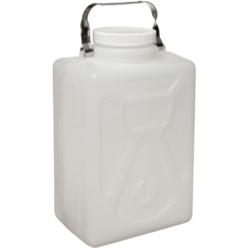 Nalgene 2211-0050 HDPE Graduated Carboy with Stainless Steel Handle and Polypropylene Screw Closure, Rectangular, 20L Capacity, 12-1/2