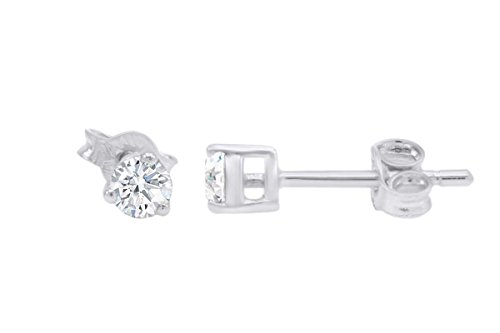 IGI Certified Round Lab Grown Diamond Stud Earrings In 10K Solid White Gold (0.27 cttw, H-I Color, SI2-I1 (10k I1 Earrings)