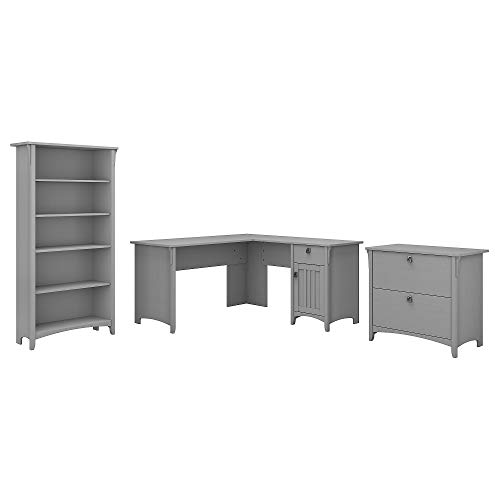 Bush Furniture Salinas 60W L Shaped Desk with Lateral File Cabinet and 5 Shelf Bookcase in Cape Cod Gray