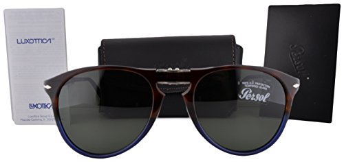 Persol PO9714S Sunglasses Havana Blue Vintage Celebration w/Green Lens 55mm 102231 - Sunglasses Middleton Kate
