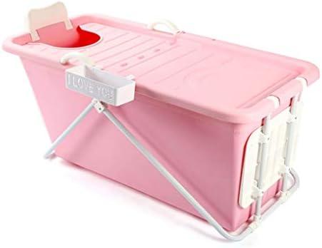 折り畳み式のバスタブ、シャワー折り畳み式携帯ノンスリップトレイマット、ストレージビン、リクライニングポジション (Color : Pink)