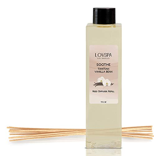 LOVSPA Soothe Tahitian Vanilla Bean Reed Diffuser Refill Oil with Replacement Reed Sticks | Great Scent for Kitchen or Bathroom, 4 oz | Made in The USA