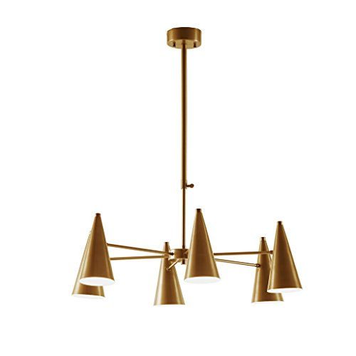 Mid Century Modern Sputnik Chandelier with 6 Spun Cone Arms in Antique Gold Finish - Includes Modhaus Living (Brass Six Arm Chandelier)