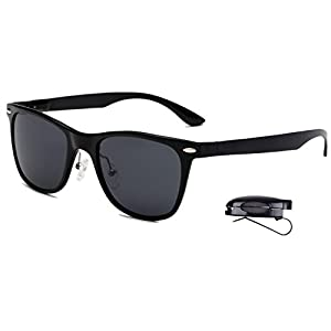 Classic Wayfarer Polarized Sunglasses, UV Protection, Dark Tinted, Metal Frame