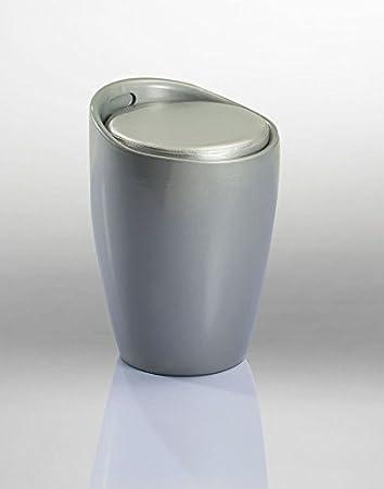 Badhocker mit stauraum  Badhocker Sitzhocker Hocker Stuhl mit Stauraum Silber DH0605 ...