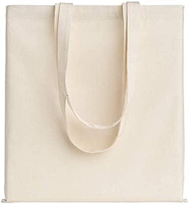 POLHIM-Bolsa Tela 100% Algodón Biodegradable,Lavable,Reutilizable-Asas Largas de 70cm.Para Ropa,Manualidades,Alimentos,Verduras,ir de Paseo y Uso ...