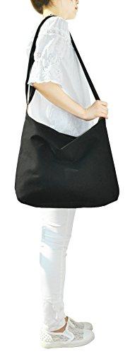 Casual Style Fashion Oversized Handbag Sage Unisex Hobo 2way Hobo Bag Canvas black Crossbody Shoulder 5EYgqg08