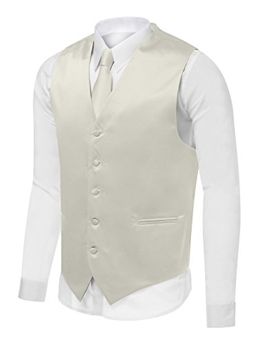 Azzurro Men's Dress Vest Set Neck Tie, Hanky for Suit or Tuxedo Ivory (Ivory Tuxedo Vest)