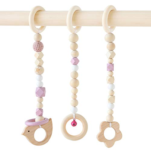 Unicorn Park Baby Gym Toys Stylish Play Gym Toys Set of 3 WoodenRattle Car Hanging Pram Wood Sensory Toy