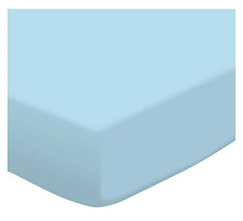SheetWorld Fitted Pack N Play (Graco Square Playard) Sheet - Flannel FS9 - Aqua blue - Made In USA by SHEETWORLD.COM