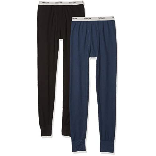 Fruit of the Loom Mens 2 Pack Classic Midweight Waffle Thermal Bottoms,
