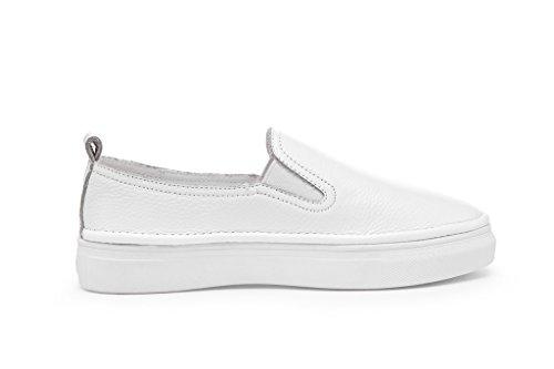 Rismart Damen Komfort Drauftun Weiß Leder Flache Schuhe 609-2 EU38.5