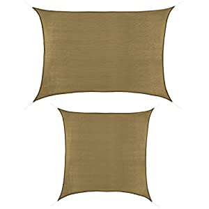 BB Sport Toldo Vela 2m x 2.5m Capuchino Rectangular Cuadrada HDPE Vela Sombra Protección Rayos UV 90%