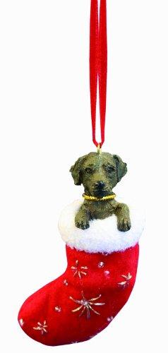 "Chocolate Labrador Christmas Stocking Ornament with ""Santa"