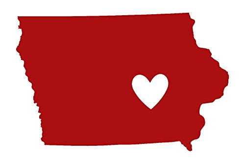 Iowa - State Outline and Heart Collectible Art Print, Wall Decor Travel Poster