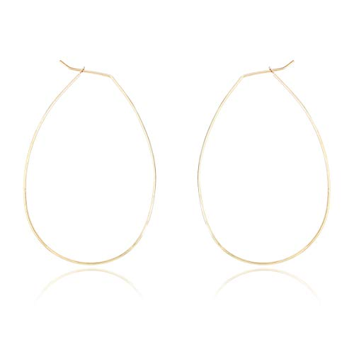 RIAH FASHION Simple Lightweight Geometric Statement Hoop Earrings - Classic Thin Wire Delicate Curved Threader Dangles Round/Pear/Horseshoe/Wood Oval (Oval Gold)