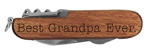 Grandpa Knife Best Grandpa Ever Laser Engraved Dark Wood 6 Function Multitool Pocket Knife