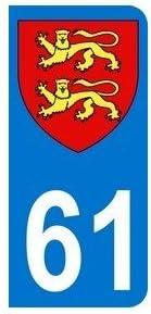 Autocollant plaque immatriculation auto département 61 orne normandie