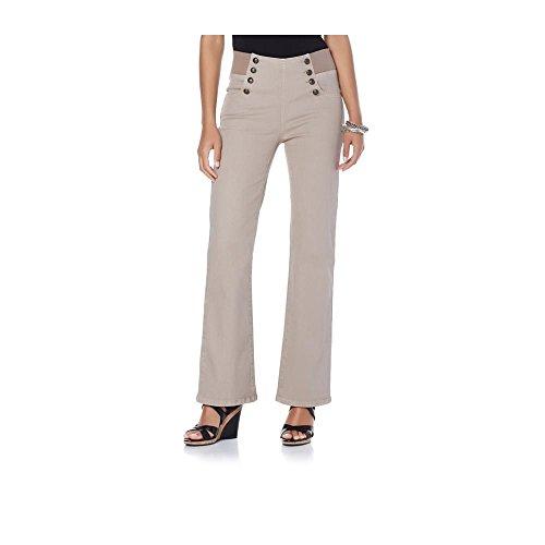 - DG2 Diane Gilman Flare-Leg Stretch Denim Pull-On Sailor Jean (2X Plus Petite, Beige)