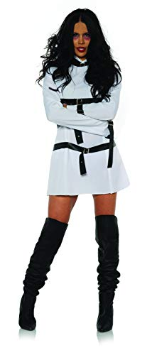 Underwraps Women's Straightjacket Costume Mini Dress-Wrapped Up, White and Black, ()
