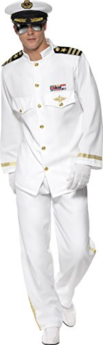 Smiffy's Men's Captain Deluxe Costume with Jacket Trousers Cap and Gloves, White, Large (Uniform Costumes)