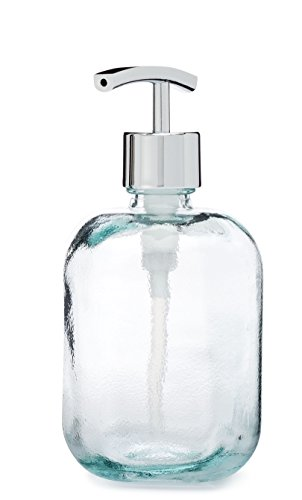 Cubo Square Round Recycled Glass Soap Dispenser (Chrome Modern) (Dispenser Square Soap Chrome)