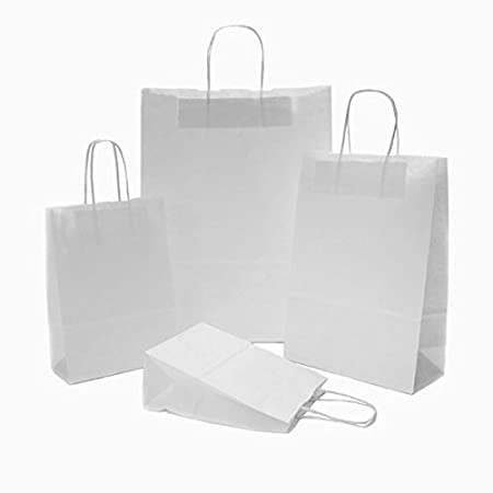 10 X White Paper Party Bags Twisted Handles 26x34 11cm Wedding Favour Birthday Gift Amazoncouk Kitchen Home
