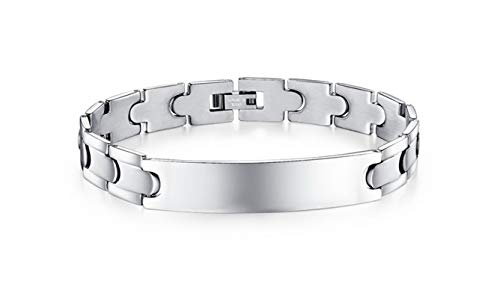 Gnzoe Men Stainless Steel Bracelet, Bangle Bracelet Smooth Rectangle Blank Tag Silver 21 cm