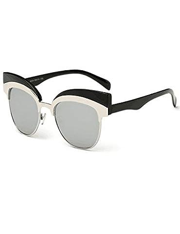Womens Cateye Eyebrow Semi-Rimless Plastic Metal Frame UV400 Sunglasses A7 - Revolution Rimless Eyeglasses