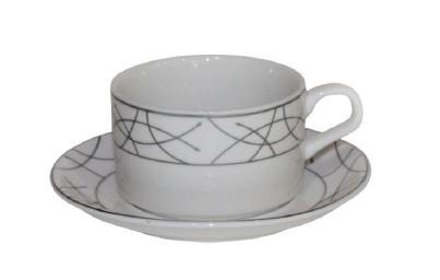 Set of 6 Bone China Demitasse Cups and Saucers for Espresso or Turkish Coffee (Silver Hemispheres)