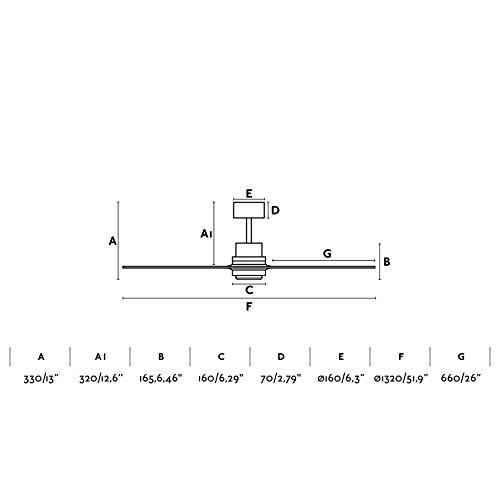 Fernbedienung 3 Geschwindigkeitsstufen Deckenventilator Lorefar LANTAU Faro 33370 Nickel matt mit 3 dunklen Nussholz-Fl/ügeln Durchmesser 132 cm inkl