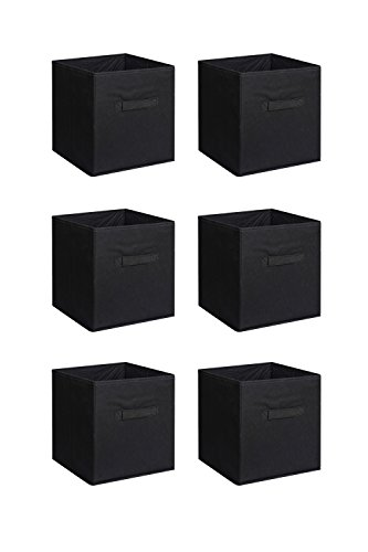 New Home Storage Bins Organizer Fabric Cube Boxes Shelf Basket Drawer Container Unit (6, Black)