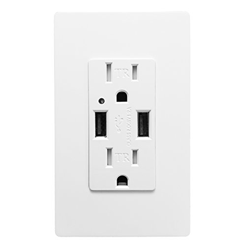 SECKATECH 4.2A Smart High Speed Dual USB Charger Wall Outlet, 15A Tamper Resistant Outlet,Charging Receptacle with 2 Free Wall Plates,White (UL Listed)