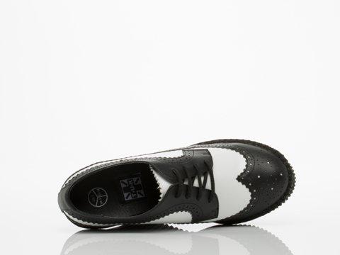 T.U.K. Shoes Womens Brogue Leather Creeper Wedges White & Black