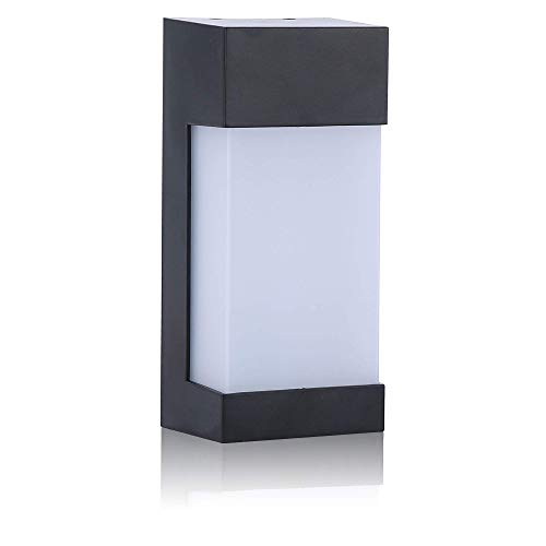 - Zip-LED Outdoor Porch Wall Light in Black and Opal Polycarbonate Plastic Modern Rectangular Exterior, 7W 3000K Warm White 560 Lumen, Non-Dimmable, Wet Location IP44