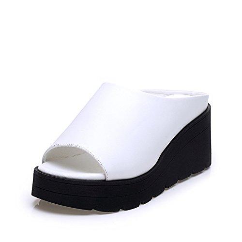 ZPPZZP Ms sandali estate pendenza aumentata con la parola trascinare bianco 37EU