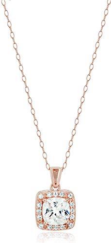 Amazon Essentials Sterling Silver Cubic Zirconia Halo Pendant Necklace (Round & Princess)
