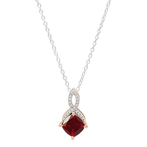 Dazzlingrock Collection 14K 7 MM Cushion Lab Created Ruby & Round Diamond Ladies Pendant With Chain, Rose Gold