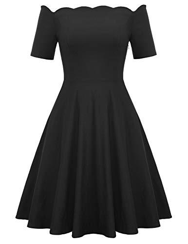 Women's Plus Size Summer Vintage Off The Shoulder Dresses Party Cocktail Evening Dresses Black 24W